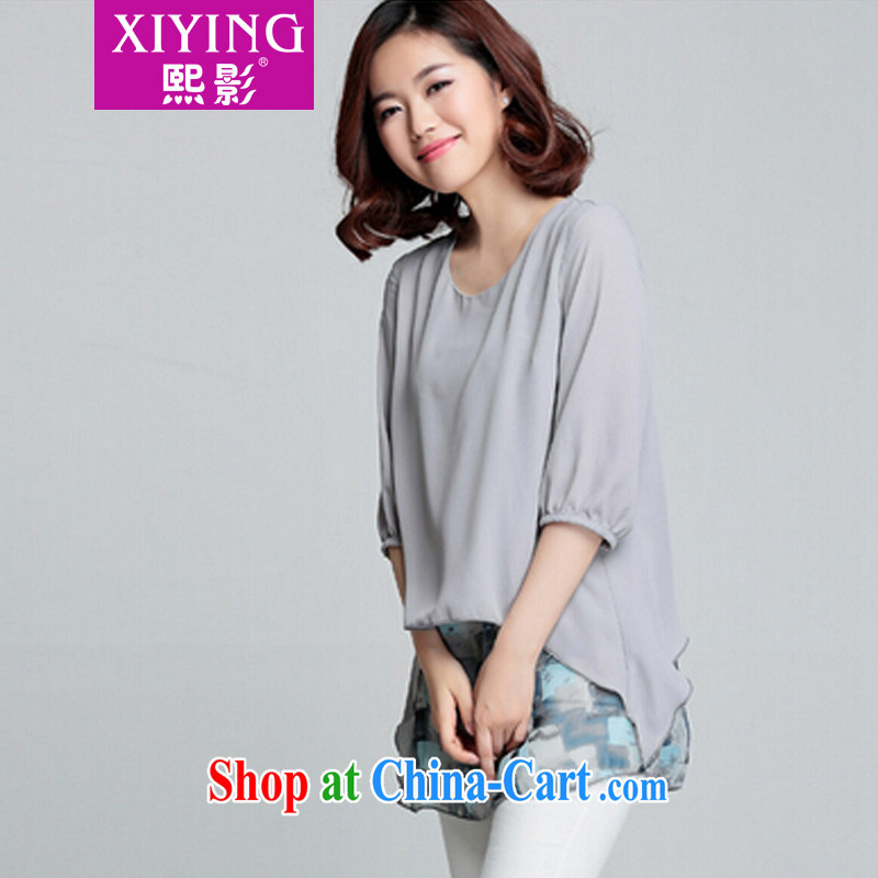 Hee-film The Code women mm thick summer leave of two parts, long, snow-woven shirts female 7 cuff small T-shirt stamp T-shirt light gray