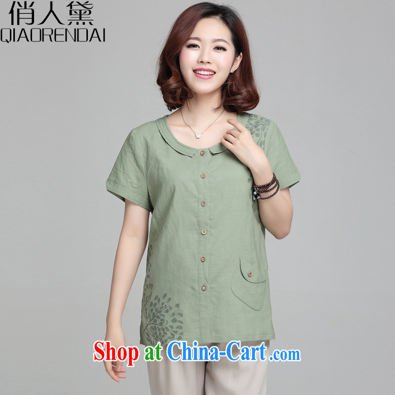 Who is Diana 2015 summer new leisure loose short-sleeve female Korean version, mom with stamp duty cotton shirt the Commission has begun green 3 XL