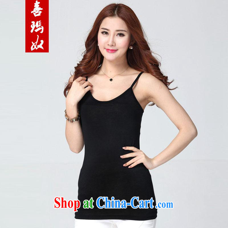Hi Princess slaves cultivating graphics thin simple and stylish aggressive, generation, cotton strap vest T pension maximum code female W 6309 Black Large Number 4 XL