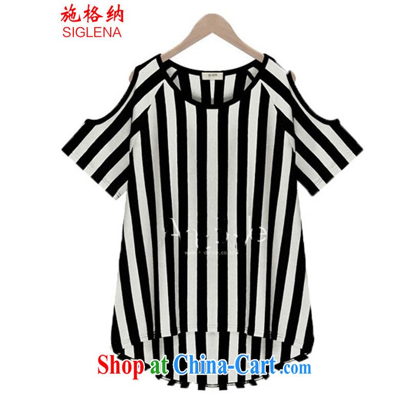 Rate the 2015 summer XL female vertical streaks on cultivating MM loose T-shirt T shirts women 5132 black streaks XXXXXL