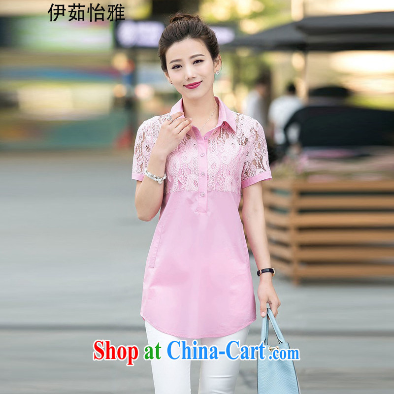 The Ju-Yee Nga 2015 new larger ladies summer shirt fat people graphics thin lace stitching shirt YY 5587 pink XXXL