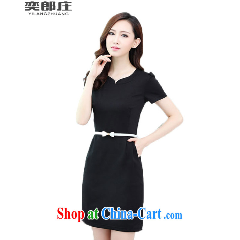 Sir David WILSON, Zhuang 2015 summer short-sleeved beauty graphics thin OL temperament commuter career-yi skirt summer 6898 black XXXXL