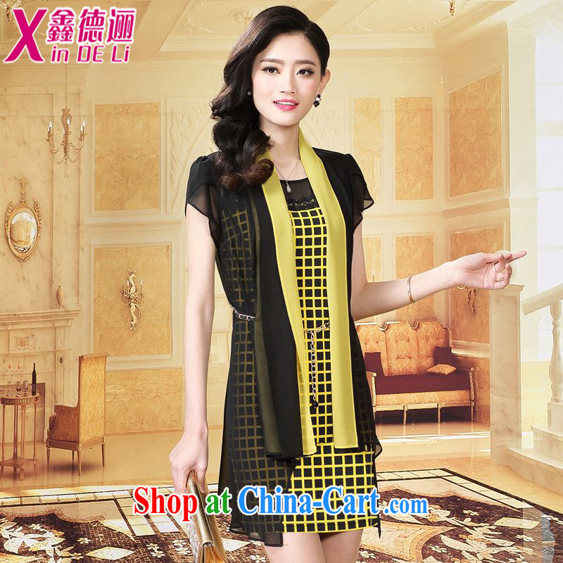 Xin De obligations summer 2015 new women's clothing half sleeve, waist graphics thin lattice woven snow larger female dresses 661 yellow M