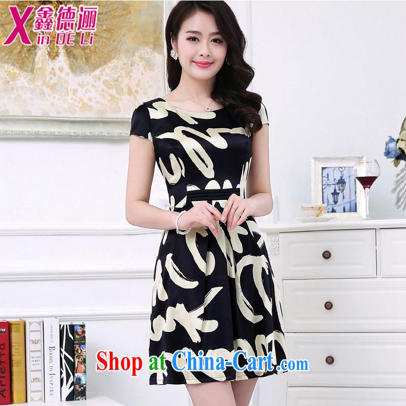 of duty, summer 2015 new female Silk Dresses stitching short-sleeve floral damask silk skirt the code female 186 black XL