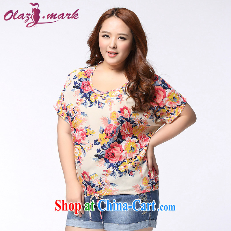 The Erez Mark's 2015 summer new, thick mm larger female short-sleeve shirt T Korean beauty and indeed the snow woven shirts 1141 fancy XXXL _recommended chest of 126 cm_