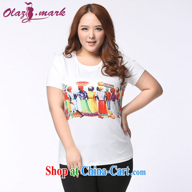 The Erez mark 200 Jack mm thick larger female short-sleeved shirt T Korean version the fat and solid T-shirt T-shirt summer new 1152 white XXXL (recommended chest of 126 cm)