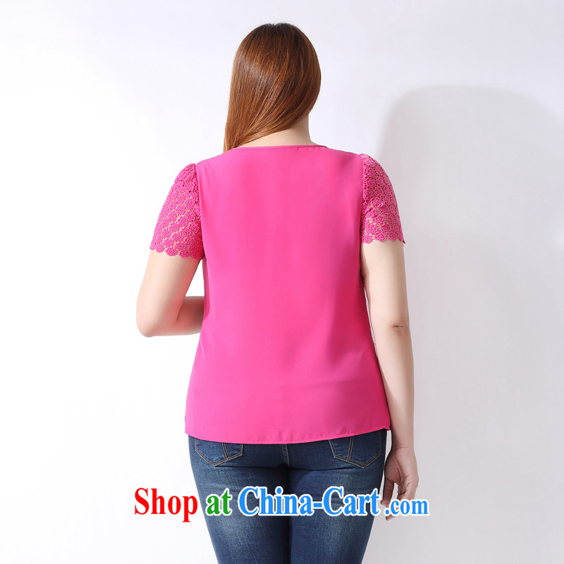 The multi-po 2015 summer new thick MM larger female Korean Hit-color stitching short-sleeved snow woven shirts A 3801 rose red 3 XL, picking a PO, Miss CHOY So-yuk (CAIDOBLE), online shopping