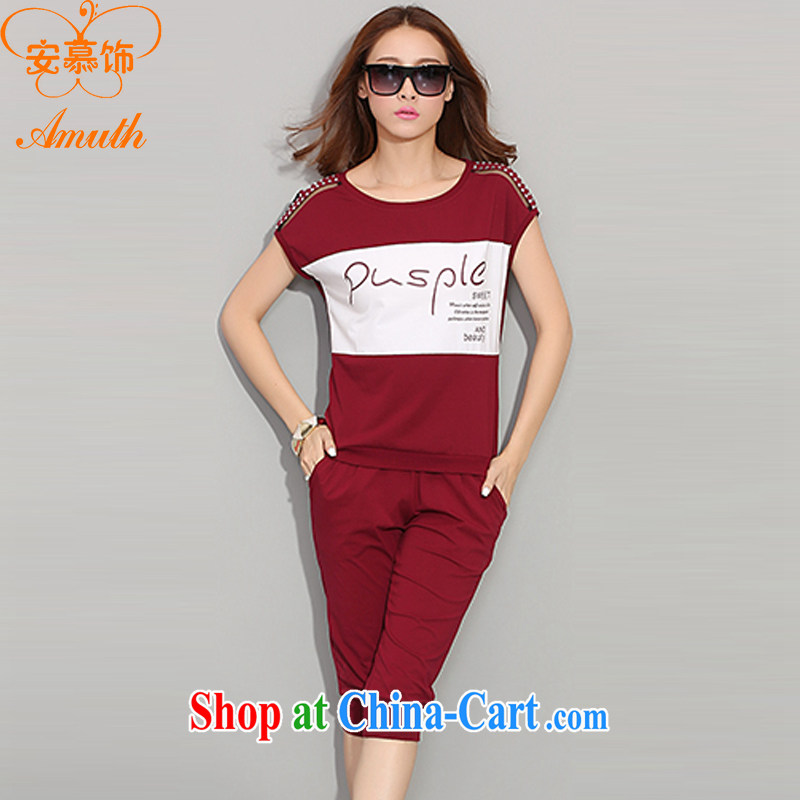 The cultural ornaments 2015 summer new short-sleeved Sport Kits female Leisure package hit color graphics thin round-collar large, female Kit female X 38 wine red XXXL