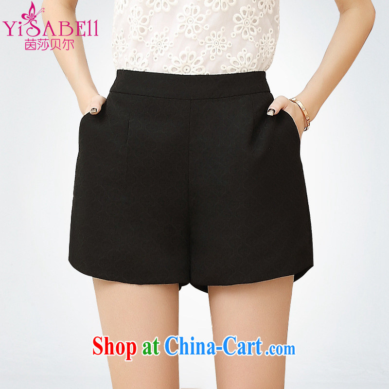 Athena Isabel Allende summer mm thick stylish lounge stamp hot pants 100 ground the fat XL girls Solid Color 100a Video thin jacquard shorts 1210 black 5 XL (160 - 175 ) jack