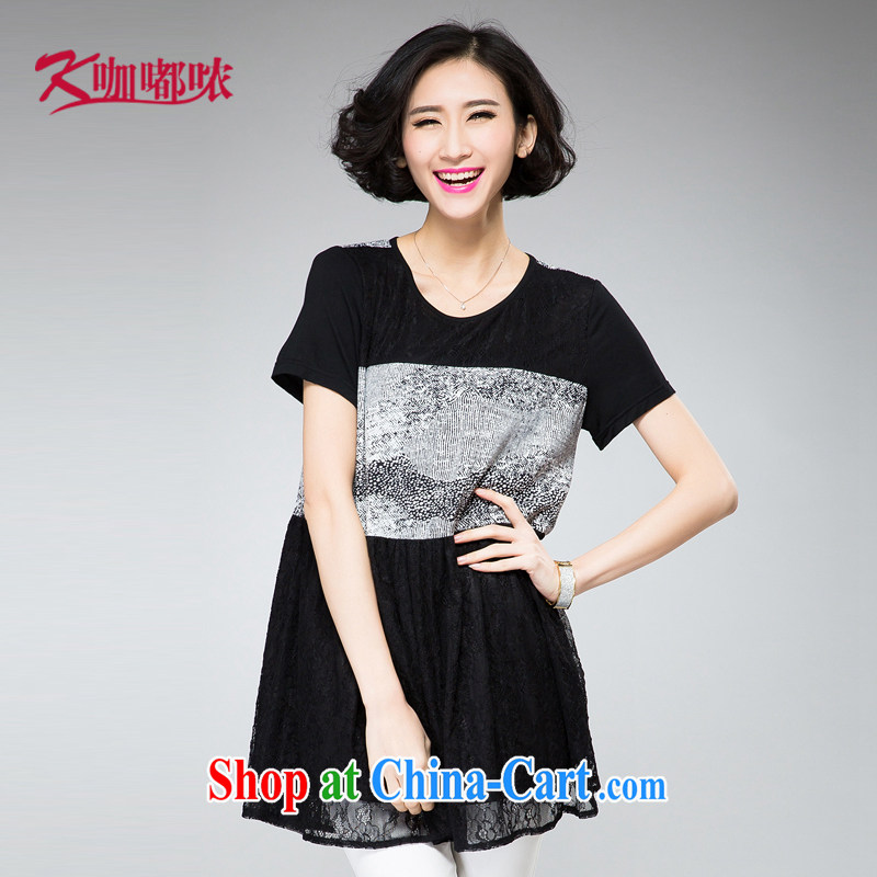 Coffee murmured the Code women 2015 summer new thick mm stamp stitching lace snow woven accessible small debris hem dresses black XXXL