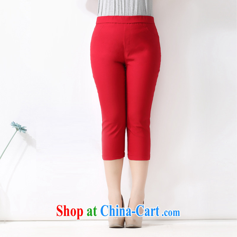 The multi-po 2015 summer new thick MM larger women in short about 100 ground graphics thin stretch 7 solid pants K 635 red 38