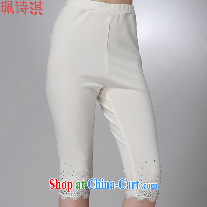 Elizabeth Quat-poetry summer 2015 new, the United States and Europe, female minimalist graphics thin pencil trousers 7 casual pants solid white 5 XL for 200 - 210 jack