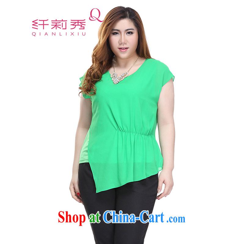 Slim LI Sau 2015 summer new, larger female decoration, bats short sleeve and snow-woven shirts T-shirt Q 5383 green 4 XL