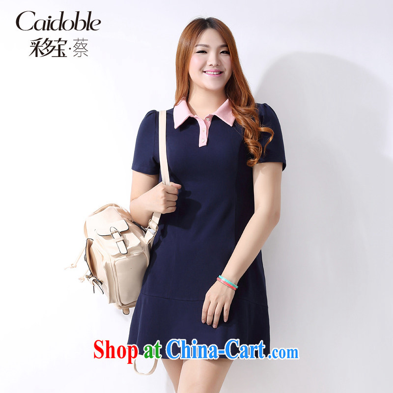 The multi-po 2015 summer new, thick MM large code female lady wind knocked color graphics thin short-sleeved dresses Q 1119 dark blue 3XL