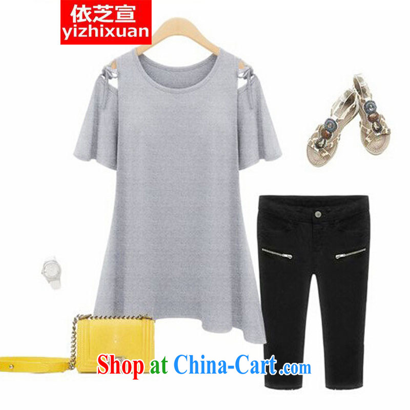 According to Chi-sun 2015 King, female 200 Jack The obesity MM summer Europe short-sleeved T-shirt solid fat sister increase T shirt light gray XXXXL