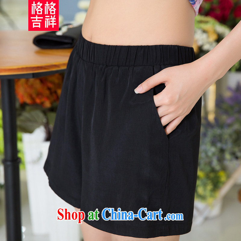 Huan Zhu Ge Ge Ge 2015 larger female summer new Korean female shorts mm thick solid color the fat and loose short pants X 5298 black 3 XL