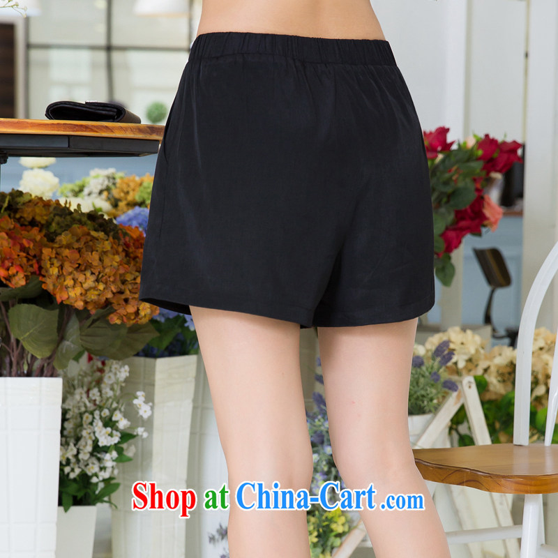 Huan Zhu Ge Ge Ge 2015 larger female summer new Korean female shorts mm thick solid color and is indeed more relaxed short pants X 5298 black 3 XL, giggling auspicious, shopping on the Internet