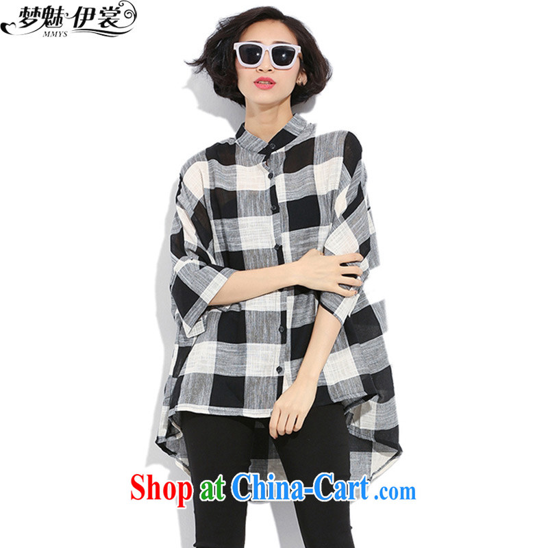 Director of the Advisory Committee 2015 spring and summer New England grid 100 to ground the fat XL female thick mm long in cotton, the shirt shirt, black loose all code