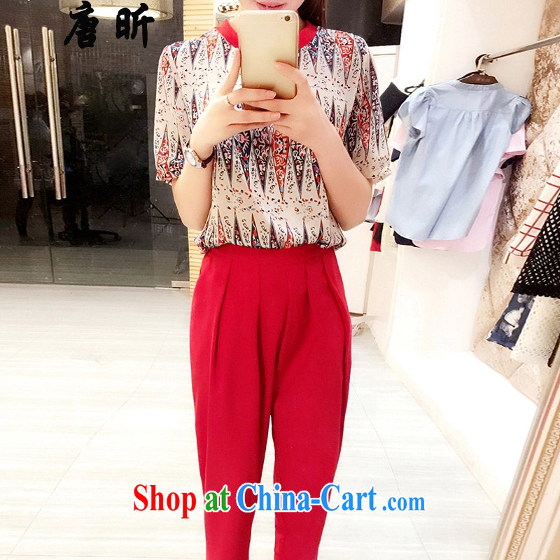 MR HENRY TANG year summer new Korean female stamp snow woven two-piece large, loose, 9 pants red 1786 XL 5 180 - 195 Jack left and right