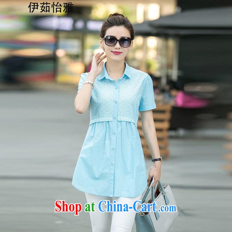 The Ju-Yee Nga 2015 summer new thick sister graphics thin stitching Korean short-sleeved larger women shirt YY 5568 blue XXXL