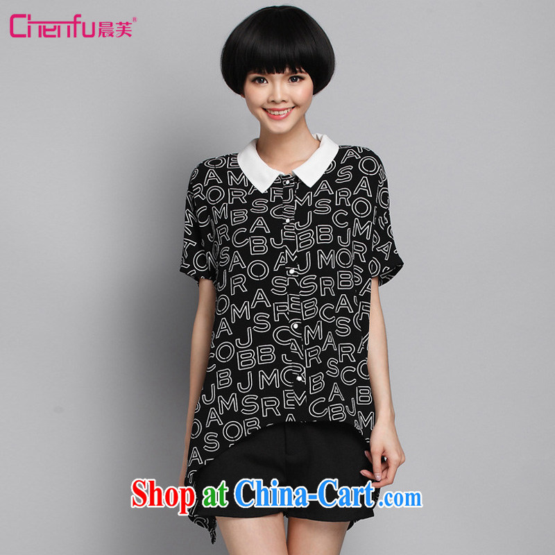 Morning would be the fat XL women summer 2015 new Korean version stylish letter lapel snow woven shirts shirt cardigan thick mm does not rule out the T-shirt black 4XL _165 - 180 _ jack