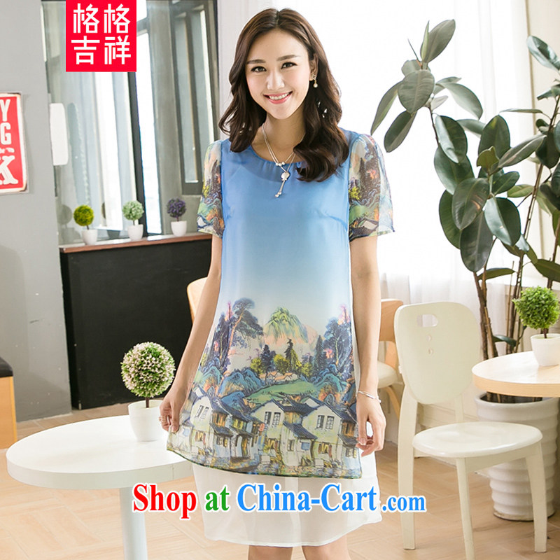 Huan Zhu Ge Ge Ge 2015 new larger female summer dress mm thick beauty graphics thin and thick and stitching snow stamp duty woven dresses X 5222 blue 3 XL