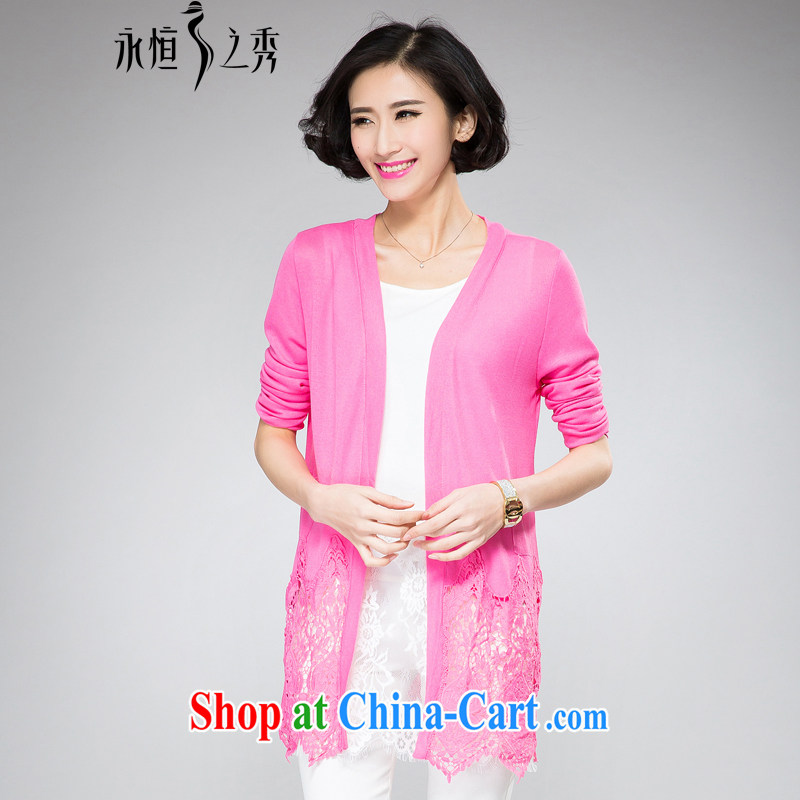 Eternal show 2015 summer new thick mm air-conditioning T-shirt large, female commercial heart lace stitching spring and summer 100 to the T-shirt small coat of pink 3 XL