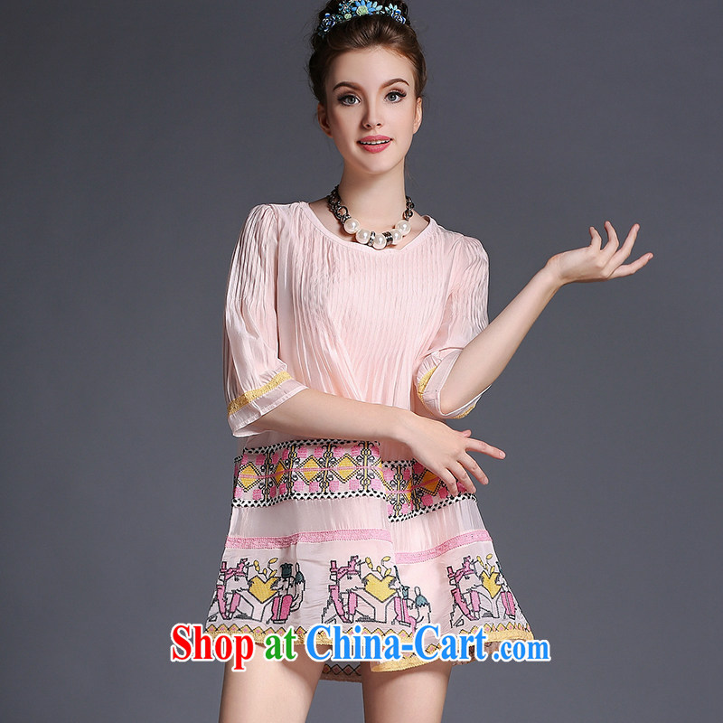 The European site thick mm larger women summer 2015 new, long, loose video thin dresses 200 Jack pink 3XL _72 - 82 _ KG