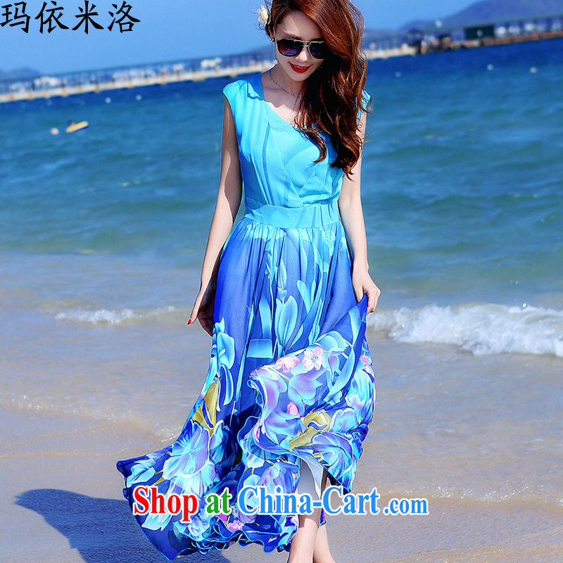 mm thick 2015 summer new Korean fashion stamp larger female dresses, Long graphics thin beauty Bohemia resort beach skirt long skirt picture color XXXL recommendations 140 - 150 jack