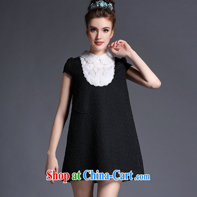 High-end XL dresses 2015 new summer mm thick 200 Jack loose lace black 4XL (82.5 - 90 kg)