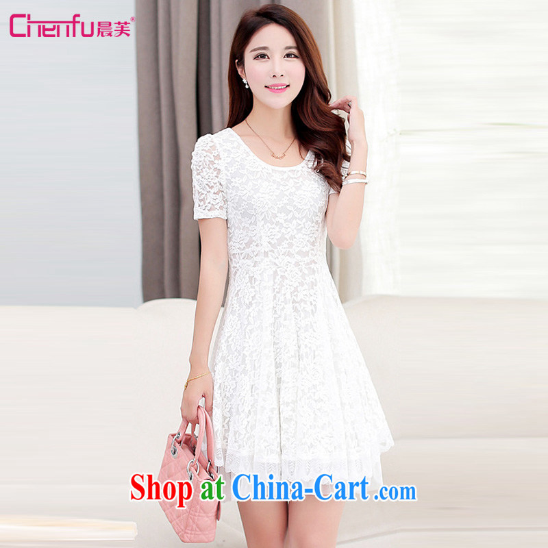 Morning would be 2015 summer new Korean version mm thick and fat increases, female skirt the waist graphics thin round-collar bubble cuff elegant lace dress white 4XL