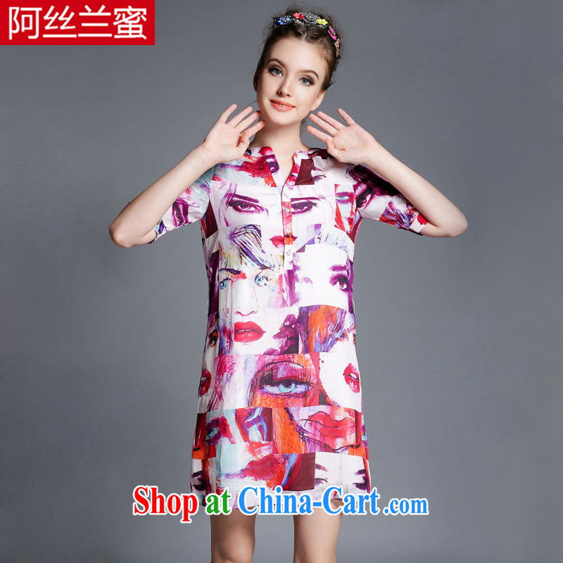 The silk, honey and ventricular hypertrophy, female fat MM graphics thin 2015 summer abstract red lips stamp beauty dresses ZZ 1873 red 4 XL _165 jack - 180 Jack through_
