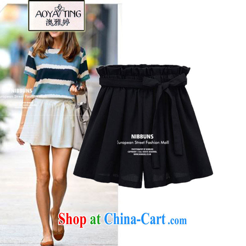 o Ya-ting 2015 summer new and indeed XL female thick mm video thin Elastic waist shorts Wide Leg pants hot female black 4 XL recommends that you 160 - 180 jack