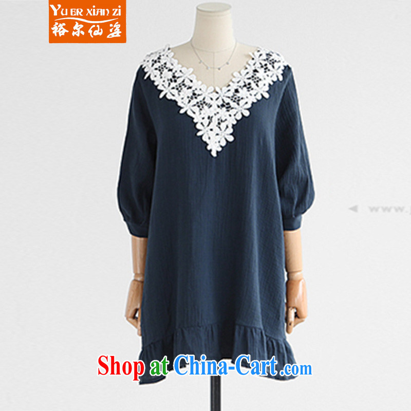 Yu's Sin City summer 2015 ladies new Korean version thick MM graphics thin and thick XL 100 hem lace lace dress collection cyan 5 XL recommends that you 175 - 200 jack