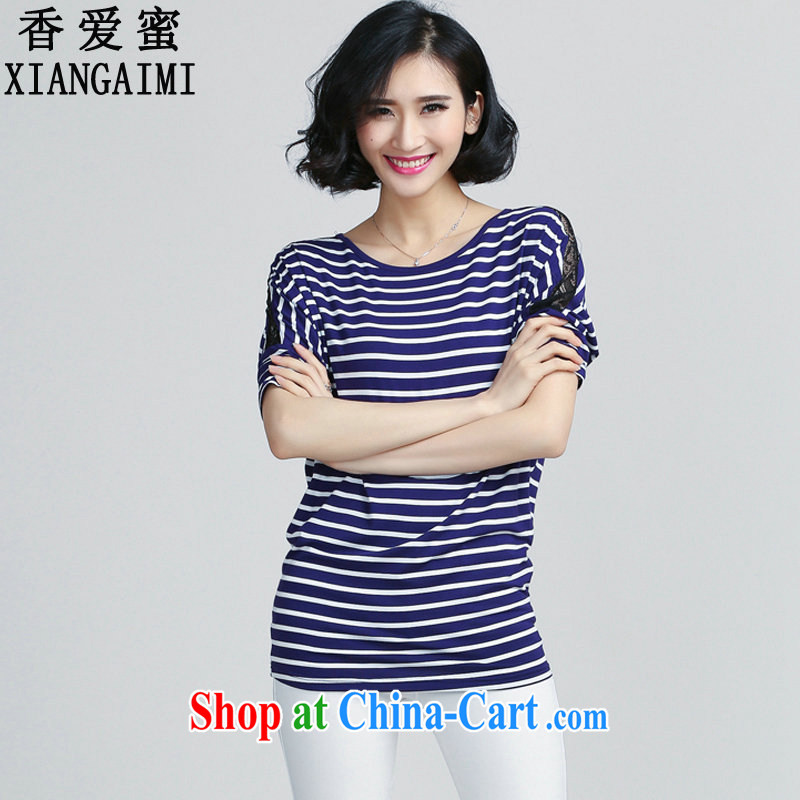 Hong Kong Love honey summer 2015 new Korean video thin loose larger female striped lace-covered shoulders short-sleeved shirt T female blue XXXXL