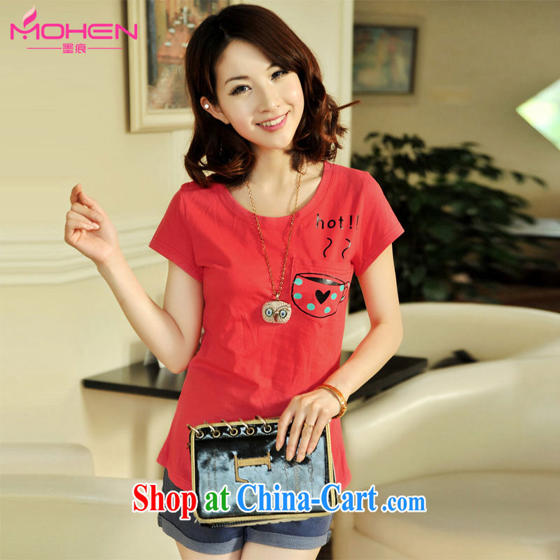 The ink marks summer new Korean fashion beauty 100 students on the round-collar alpha waves, love Stamp Card short-sleeved larger T shirt 6279 red S