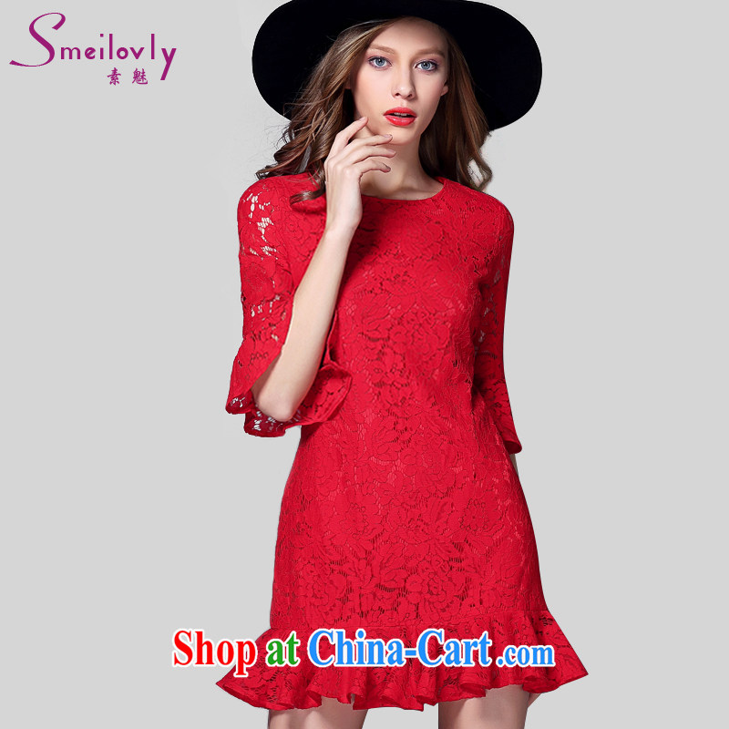 Director of summer 2015 with new, and indeed increase, female fat mm Europe stylish graphics thin, cuff lace dresses 2033 big red code 5 XL 200 Jack left and right