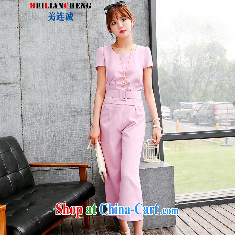 The US even good faith 2015 summer new, modern Europe and the waist graphics thin two-piece Straight and trousers leisure Career Package T-shirt girls pink XXL