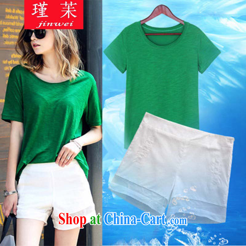 Keun-? large code female graphics thin thick mm summer new stylish short-sleeve foreign trade and indeed increase shorts sportswear JW N 8636 233 photo color T-shirt + pants 4 XL