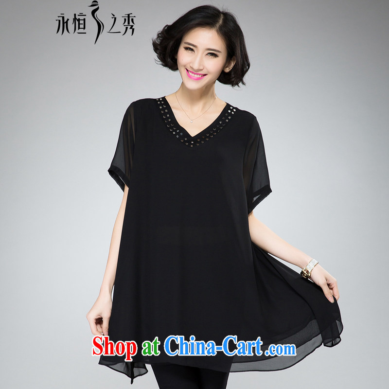 Eternal-soo and indeed increase, female dress mm thick summer 2015 new thick sister fat, video thin, loose V collar Pearl snow woven dresses black 2 XL