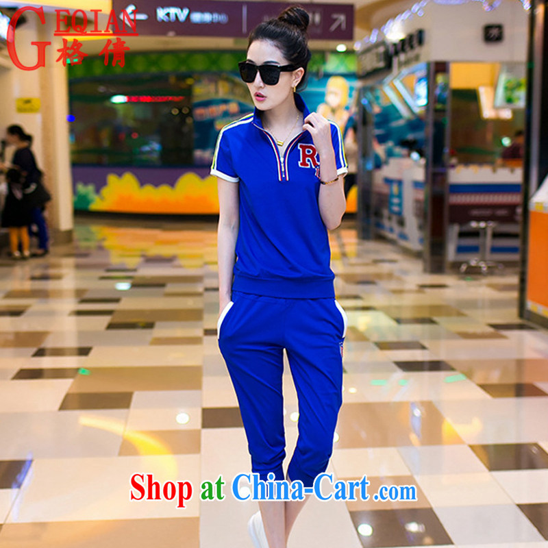 The MS 2015 summer new female Korean version of the greater, short-sleeved T-shirt girls 7 pants uniforms Kit female summer WWW 2-1 color blue+slippers XXXL