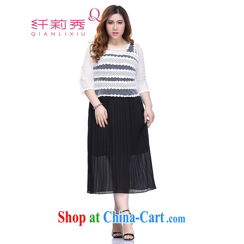 Slim LI Sau 2015 summer new, larger female Two-piece candy color 100 hem Web yarn flowers T-shirt vest skirt two piece dresses Q 6107 black 3 XL