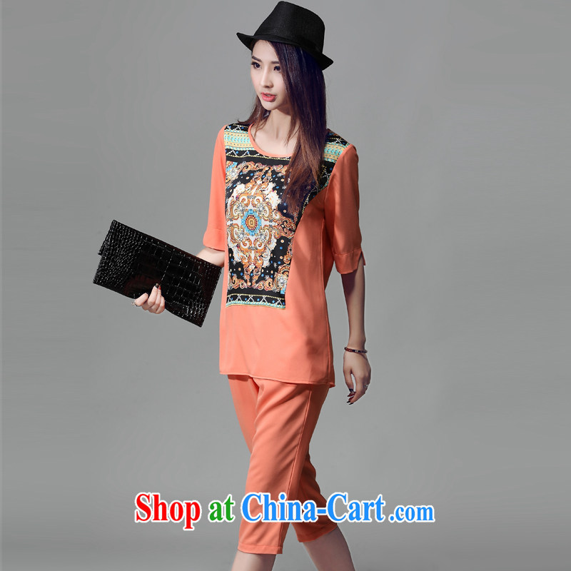Crown Platinum 2015 The Code sets mm thick summer T-shirt girls won in cuff antique ethnic wind stamp loose T-shirt pants two piece orange XXL