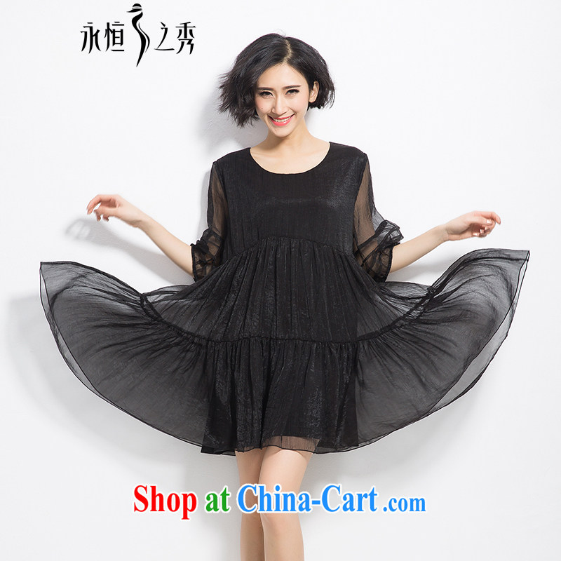 Eternal show 2015 summer mm thick new, larger female loose video thin large A before Lantern sleeve dress black 3 XL