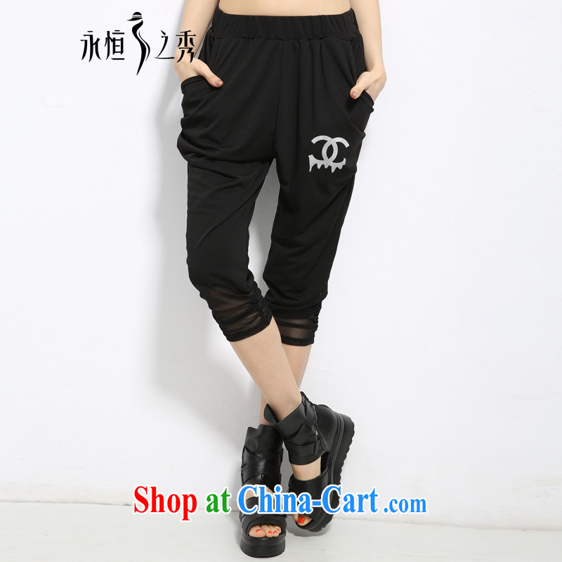 Eternal show the code female 7 pants thick sister 2015 summer new thick mm thick, graphics thin, and indeed increase, Europe and stylish lounge, trouser press black 2 XL