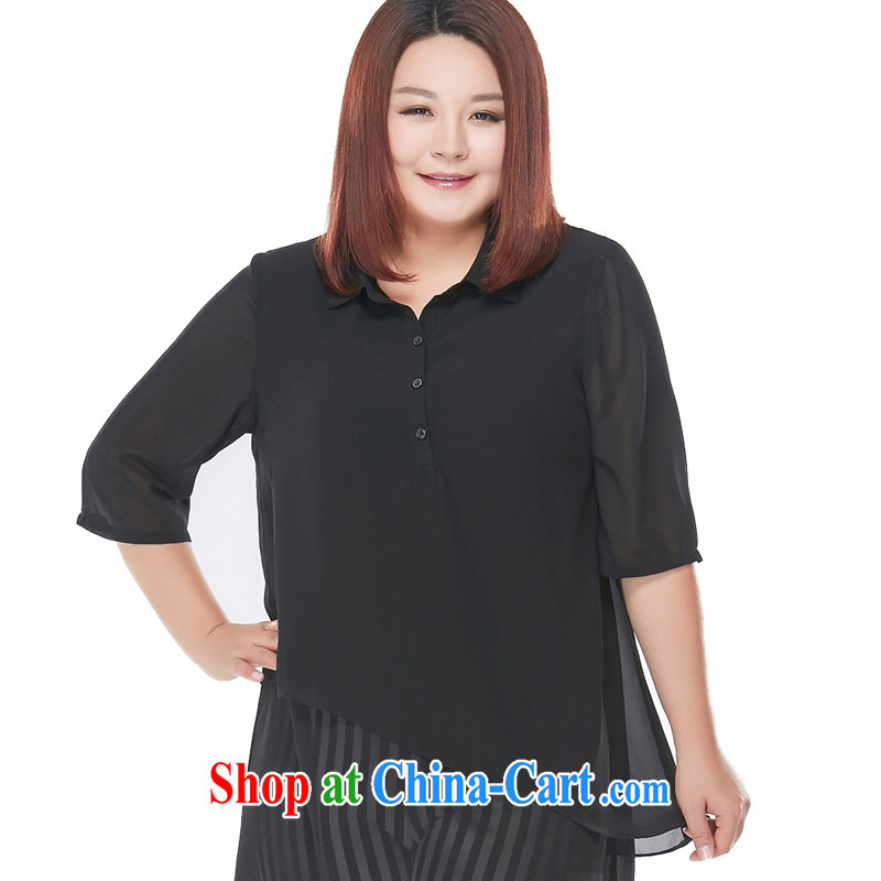 The MSSHE indeed XL women 2015 new summer wear thick MM flouncing lapel snow woven shirts 4731 black 3 XL
