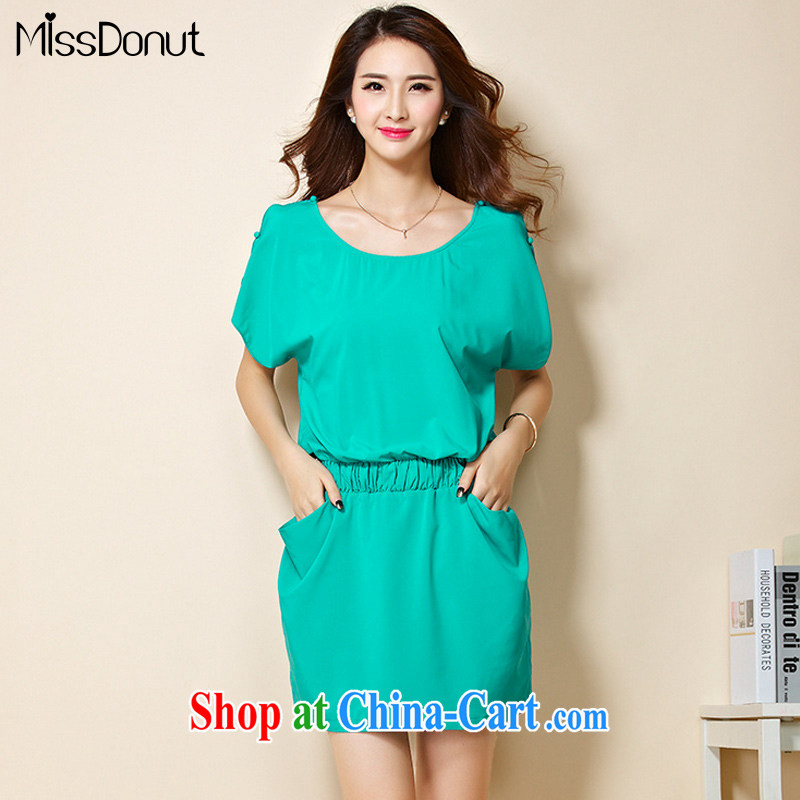 MissDonut 2015 summer New, and indeed increase, female Korean version loose fat, Video thin, short-sleeved dress mm thick solid skirt light green code 3 XL
