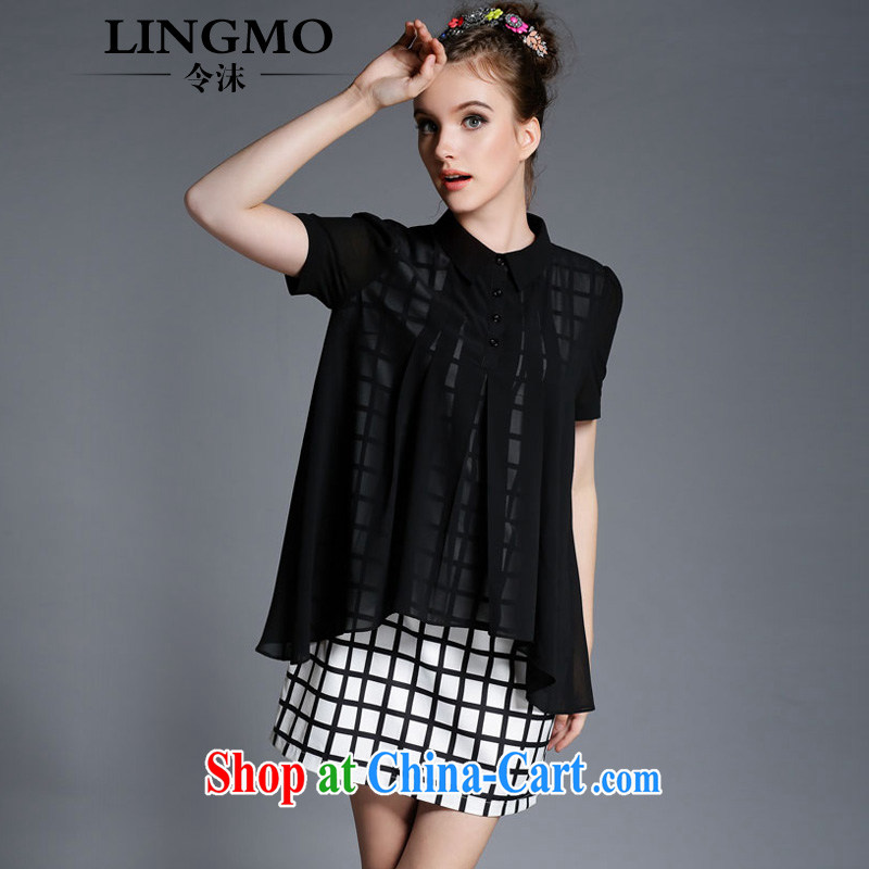 The bubbles snow woven dresses female short-sleeve 2015 summer king in Europe and America, female fat sister grid stamp duty leave of two part skirt black American big wind 2 XL recommendations 126 - 140 jack