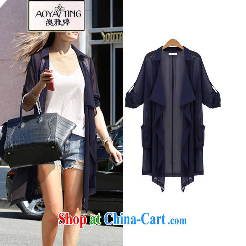 o Ya-ting 2015 New, and indeed increase, female summer thick girls with graphics thin sunscreen clothing shawl, jacket loose air-conditioning shirt dark blue 5 XL recommends that you 175 - 200 jack