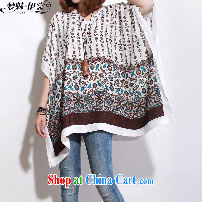 Director of the Advisory Committee spring and summer with new and indeed XL women mm thick loose video thin, long, floral bat sleeves snow woven shirts skirts white loose all code